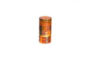 "Safari Gold 3"" X 6"" pillar candle hand poured and hand painted in tones of brown and gold.  Fair trade."