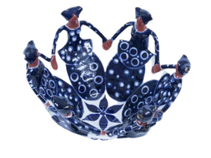 Hand crafted ceramic friendship bowl with 6 Xhosa ladies in Indigo Blue dresses. Fair Trade Products.
