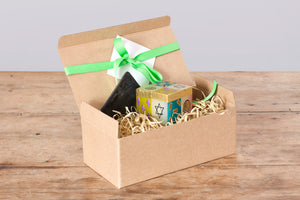 Gift Box - Judaica design Cube candle & ceramic black Candle Coaster. Fair trade gifting.