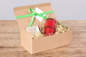 "Gift Box - Berry Blaze red  3"" x 6"" Pillar Candle & white ceramic Candle Coaster.  Fair trade gifting."