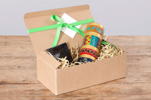 "Gift Box  African Mineral 3"" x 8"" hand crafted pillar candle & hand made black candle coaster. Fair trade gifts."