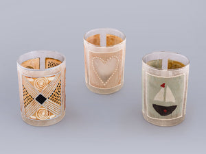 Tea light candles hand crafted using  painted recycled teabags to make the designs. Fair trade home decor.