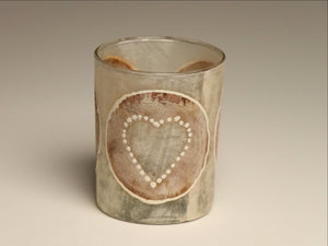 Tea light candles hand crafted using heart painted recycled teabags to make the designs. Fair trade home decor.