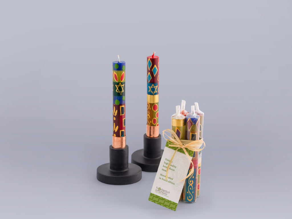 Shabbatt Candles in Judaica design handcrafted by artisans in South Africa. Fair trade home decor.