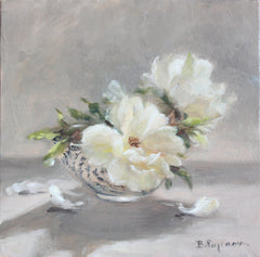 WHITE ROSES IN CHINA VASE