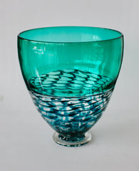 DEEP LATTICE BOWL - AQUA GREEN