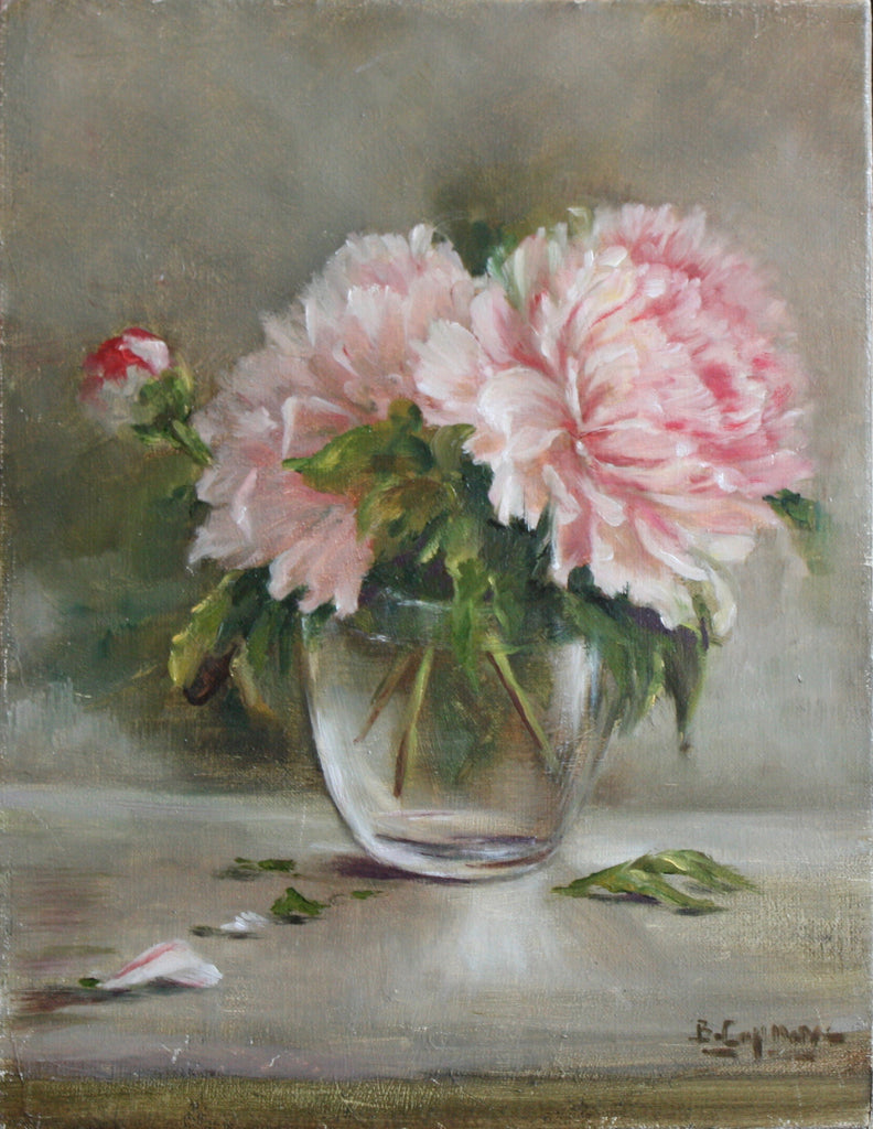 PINK PEONIES IN GLASS