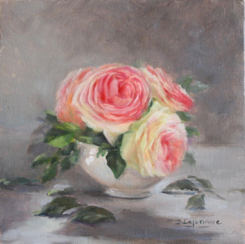 PINK ROSES IN WHITE CHINA