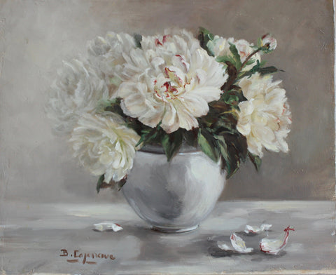 PEONIES IN WHITE VASE