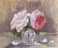 WHITE AND PINK ROSES IN GLASS