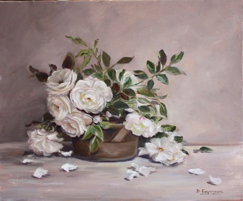 WHITE ROSES IN POT