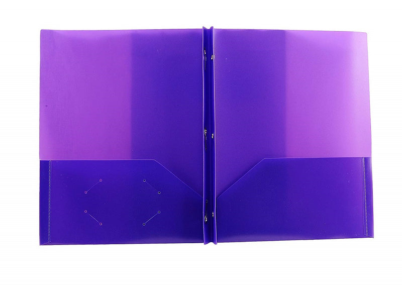 "2 Sets Three Leaf Two-pocket Poly Portfolio 4.5""  with Prongs and Filler Papers (Red, White, Green, Purple, Blue, Black) 2 Pack"