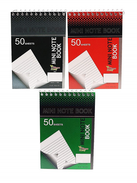 "6 Pcs Three Leaf Spiral Personal Mini Notebook 4""x6"" College Ruled 50 Sheets Random Colors - 2 Pack"