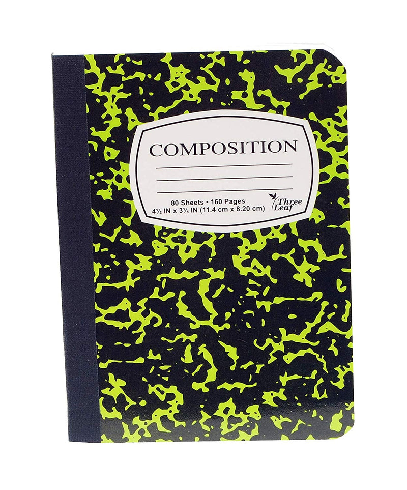 3 Pcs Three Leaf Mini Composition Notebook 4 1⁄2 x 7 1⁄4  College Ruled 100 Sheets Random Color  Red, Green, Yellow, Blue, Black) - 6 Pack