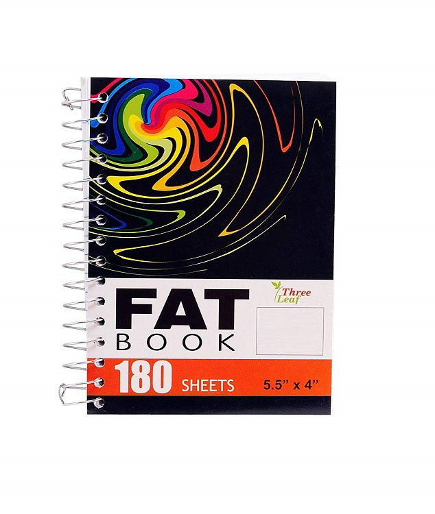 "4 Pcs Three Leaf Spiral Fat Book Notebook 5.5"" x 4"" College Ruled 180 Sheets Random Design 4 Pack"