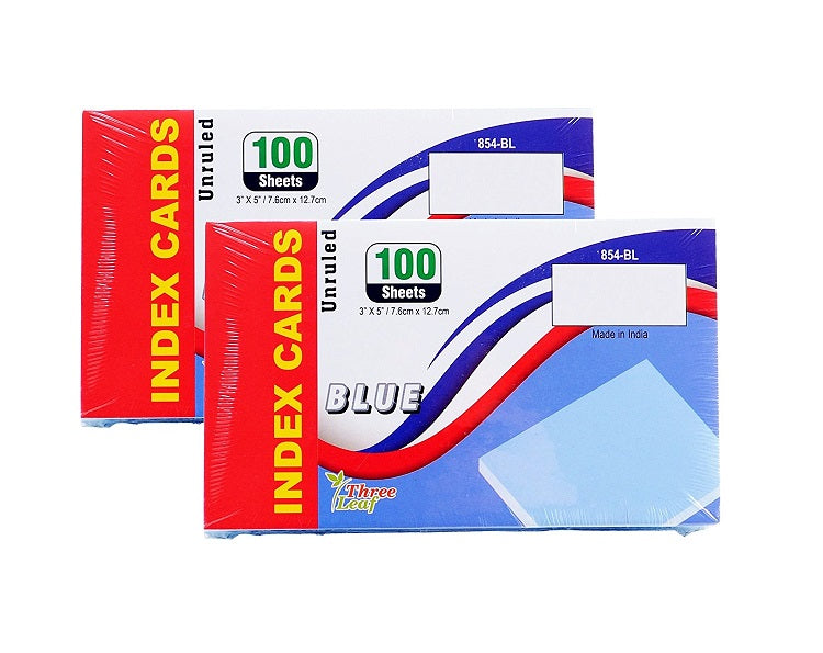 "100 Sheets Three Leaf Index Cards 3"" x 5"" Unruled Blue - 2 Pack"