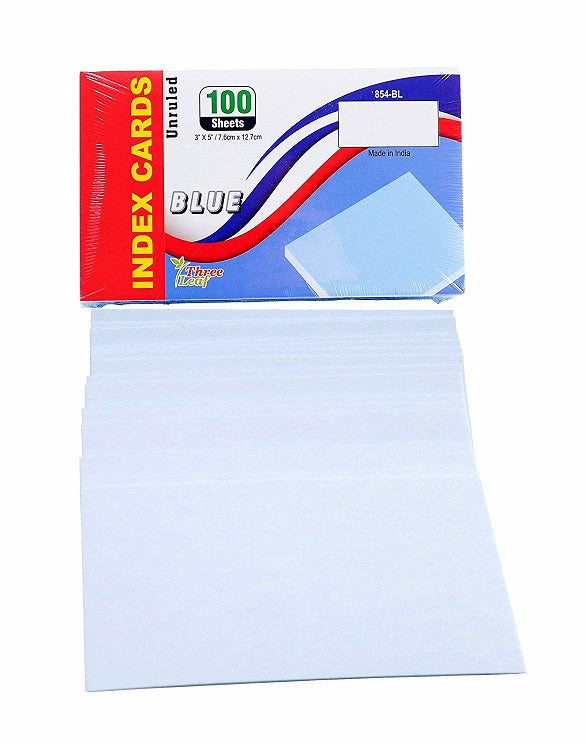 "100 Sheets Three Leaf Index Cards 3"" x 5"" Blue - 5 Pack"