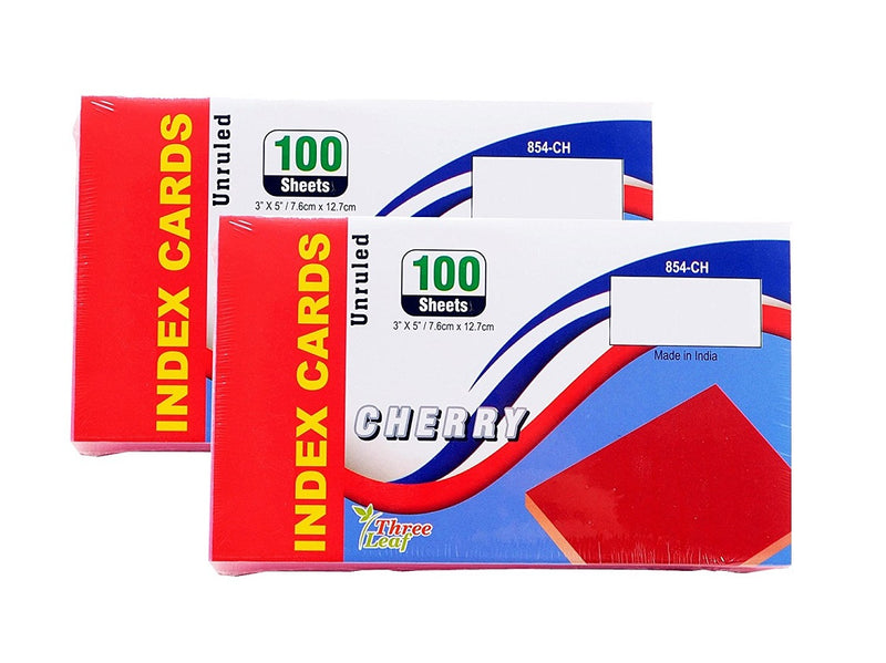 "100 Sheets Three Leaf Index Cards 3"" x 5"" Unruled Cherry - 2 Pack"