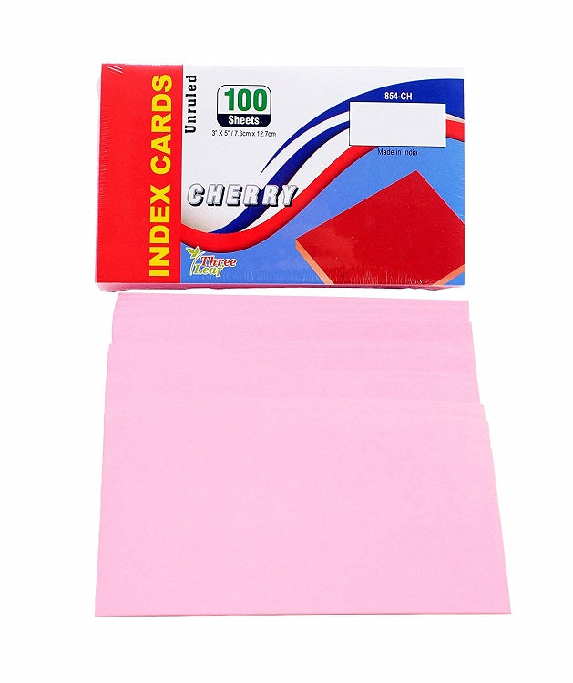 "100 Sheets Three Leaf Index Cards 3"" x 5"" Unruled Colors: Canary, Blue, Cherry - 3 Pack"