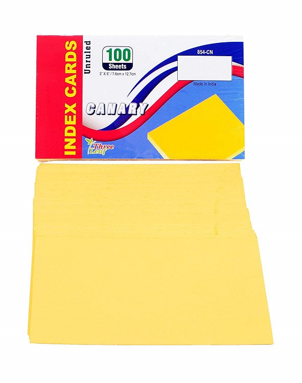 "100 Sheets Three Leaf Index Cards 3"" x 5"" Unruled Canary Yellow - 2 Pack"