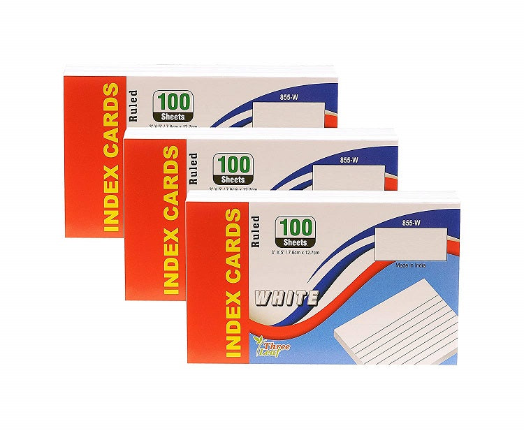 "300 Pcs Three Leaf Index Cards 3"" x 5"" Ruled White + 1  Plastic Index Card Case (Blue or Black) 3 Pack"