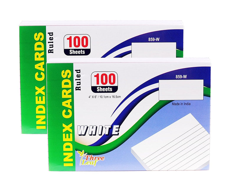 100 Sheets Three Leaf Index Cards Ruled White - 2 Pack