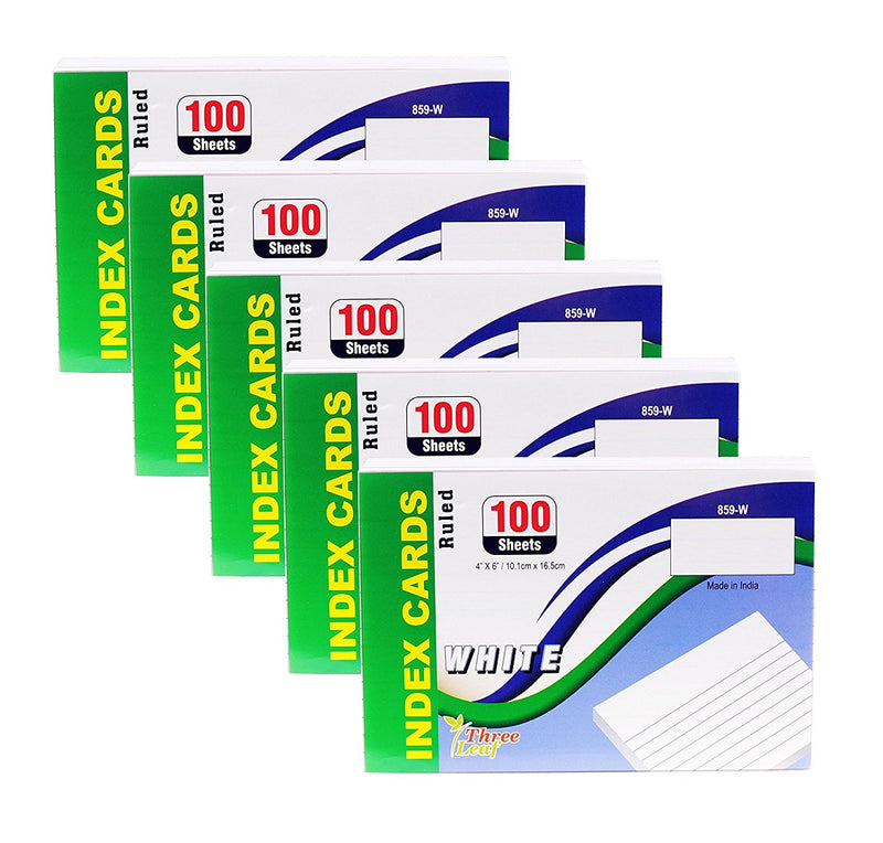 100 Sheets Three Leaf Index Cards Ruled White - 5 Pack