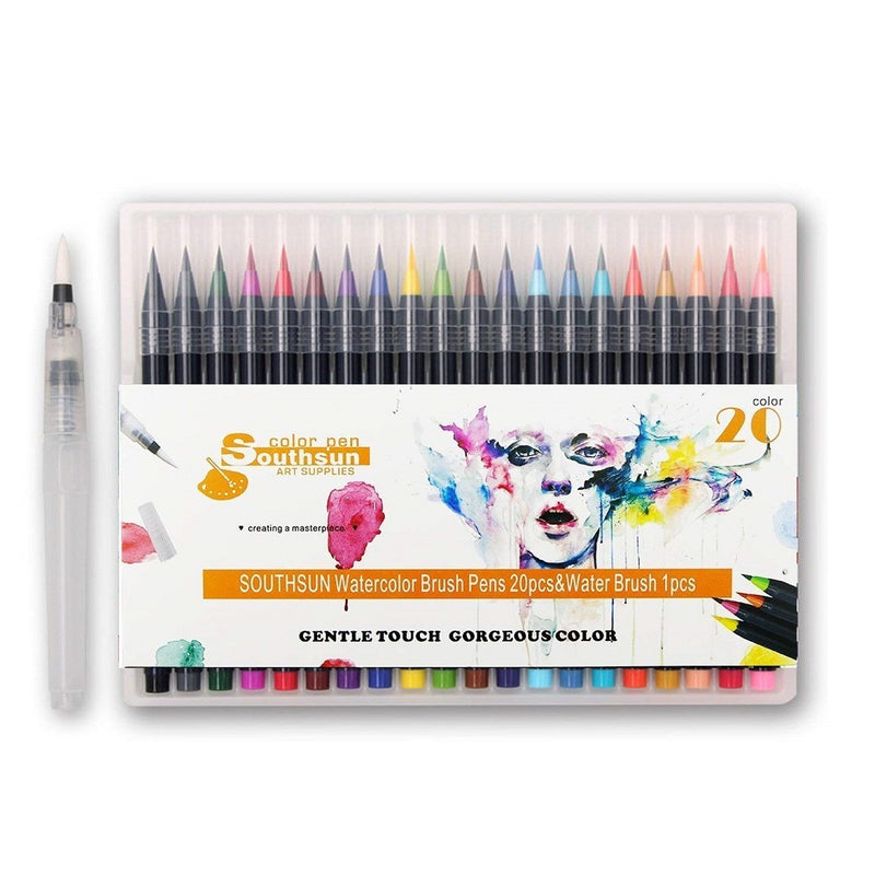 "30 Sheets Three Leaf Set Wired Sketchbook ""9x12"" + 1 Pack Watercolor Brush Pens With 1 Water Brush-1 Set"