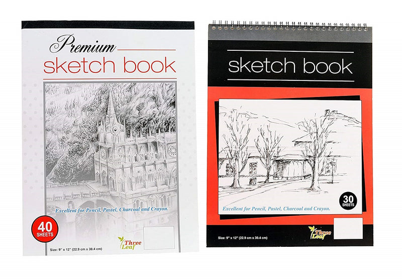 Three Leaf Sketchbooks (Premium and Wired) 9'x12' Off-white Colored Sheets - 2 Packs