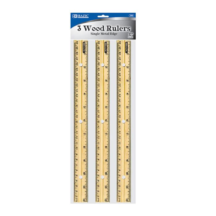 3 Pcs Bazic Wood Rulers (Scale: 12 inches and 30cm) Yellow - 3 Pack