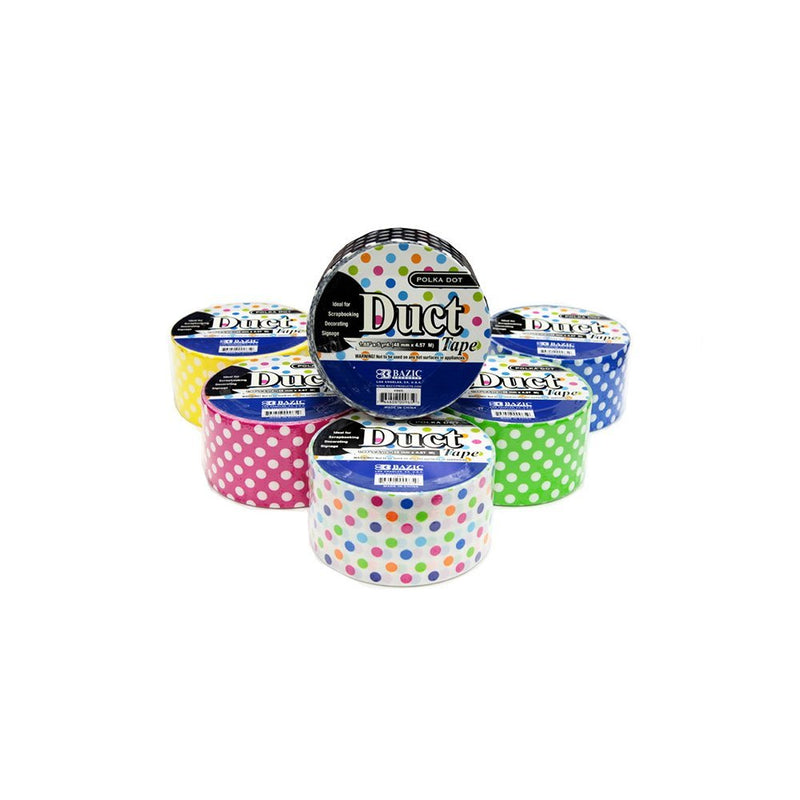 "18 Pcs Bazic Duct Tapes 1.88"" x 5 Yards Variety Pack Self-adhesive (6 Polka-dot + 6 Chevron + 6 Colorful Camouflage) -3 Packs"
