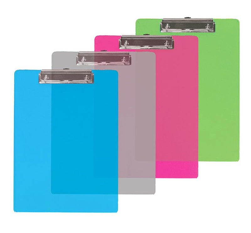 "4 Pcs Bazic Transparent Plastic Clipboard (12.25"" X 9"") Assorted Colors (blue, clear, pink, green) - 4 Pack"