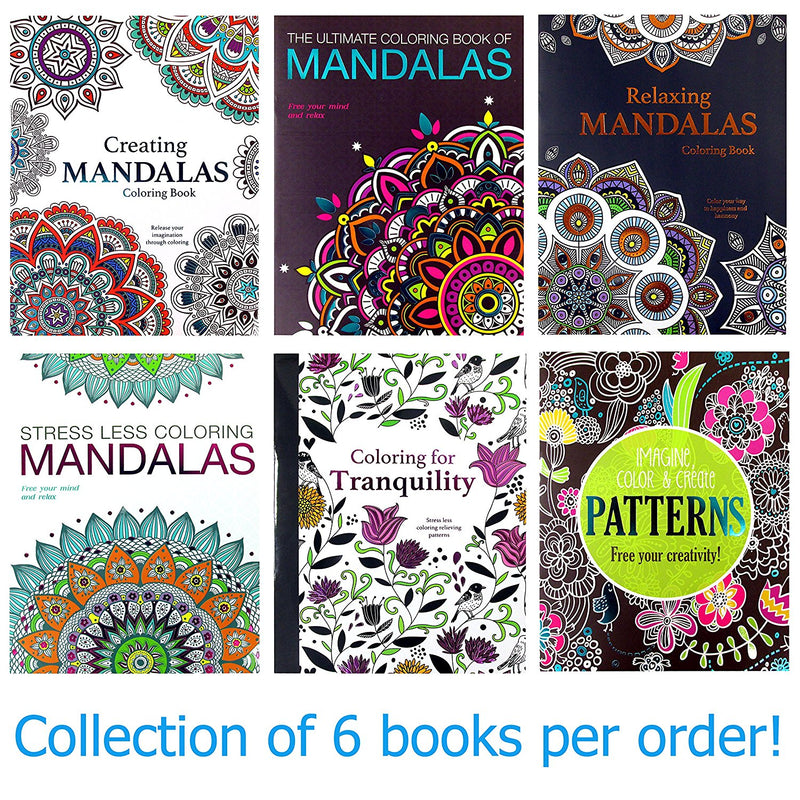 6 Pcs Bazic Adult Coloring Book Set Mandalas Books Plus Patterns and Tranquility - 1 Pack