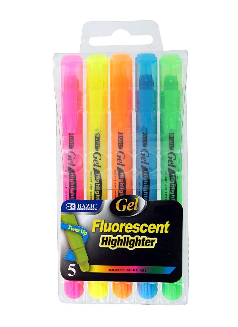 5 Pcs Bazic Gel Fluorescent Highlighter Twist up Multicolor (pink, orange, green, blue, yellow) - 1 Pack