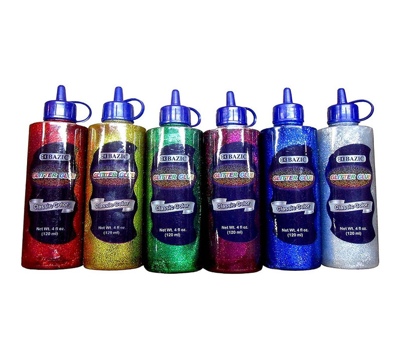 6 Bottles Bazic Glitter Glue Set 120 ML Assorted Classic Colors (Green, Gold, Red, Silver, Blue, Purple) 1 Pack