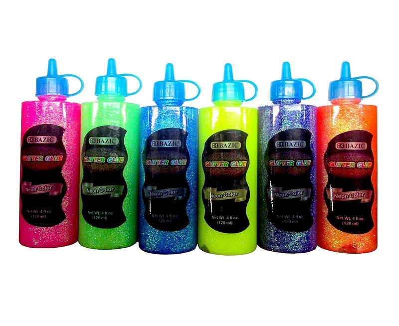 6 Bottles Bazic Glitter Glue Set 120ML Assorted Neon Colors (Pink, Green, Orange, Blue, Yellow, Purple, Orange) 6 Pack