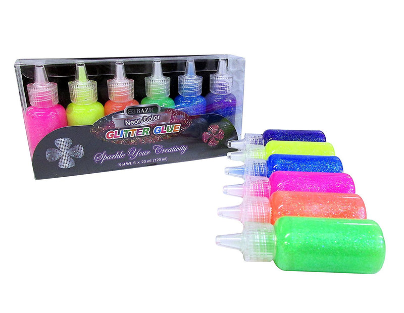 12 Bottles Bazic Glitter Glue Set 20 ML Assorted Neon Colors (Green, Orange, Pink, Yellow, Blue, and Purple) 2 Pack