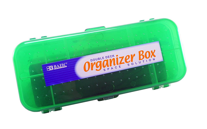 Bazic Double Deck Organizer Box Random Colors (Black, Red, Blue, Green) 2 Pack