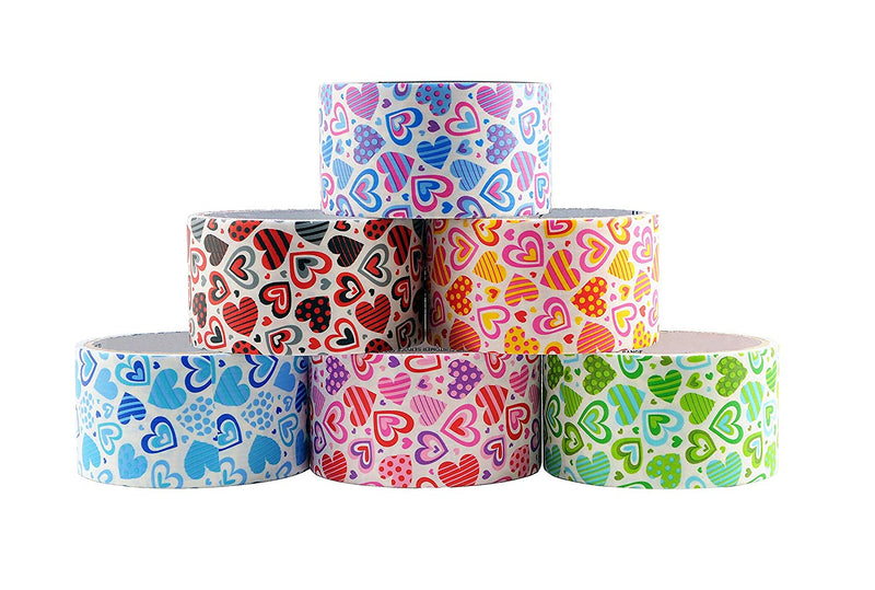 "6 Rolls Bazic Heart Themed Decorative Duct Tapes Set (1.88"" X 5') Multi-purpose Self-adhering Tapes Assorted Colors - 6 Pack"