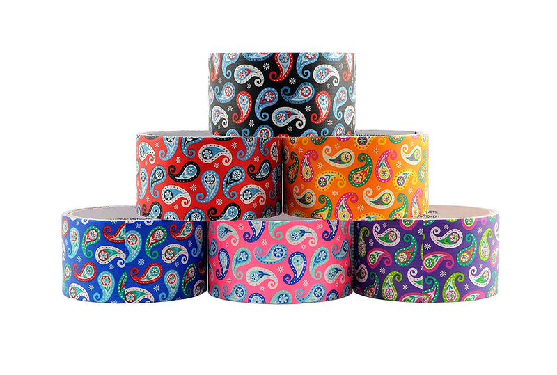 "6 Rolls Bazic Paisley Themed Decorative Duct Tapes Set (1.88"" X 5') Multi-purpose Self-adhering Tapes White Color - 6 Packs"