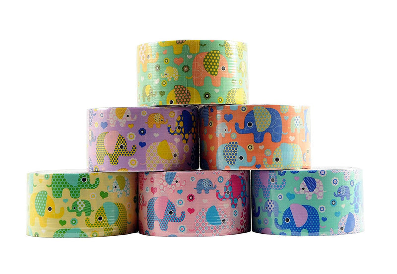 "6 Rolls Bazic Elephant Themed Decorative Duct Tapes Set (1.88"" X 5') Multi-purpose Self-adhering Tapes Assorted Colors  - 6 Pack"