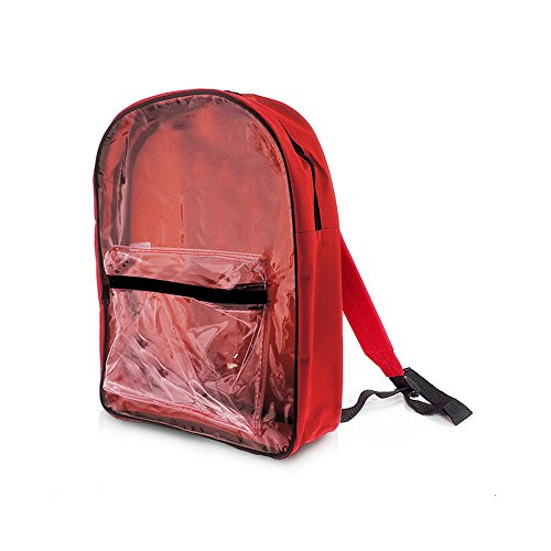 Bazic Transparent Front School Backpack Red 1 Pack