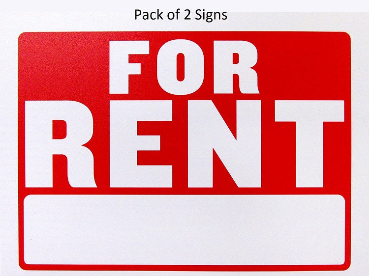 "2 Pcs Bazic ""For Rent"" Signs (9"" x 12"") Durable & Weatherproof - 1 Pack"