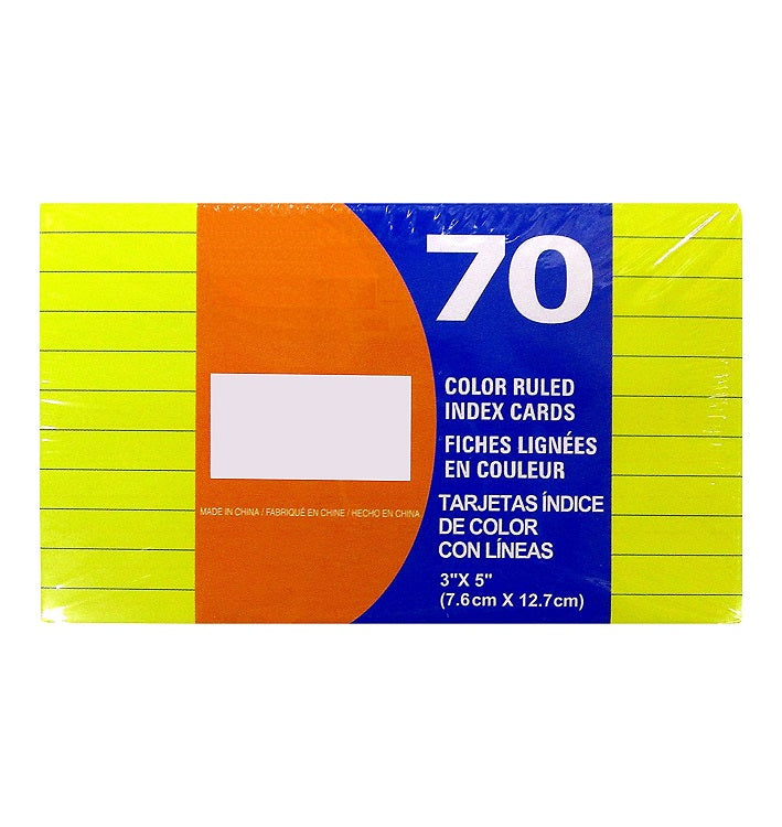 "70 Sheets Kamset Index Cards 3"" x 5"" Ruled Colored - 1 Pack"