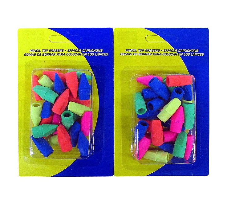 50 Pcs Kamset Cap Erasers Arrowhead Style Assorted Neon Colors (pink, blue) 2 Pack