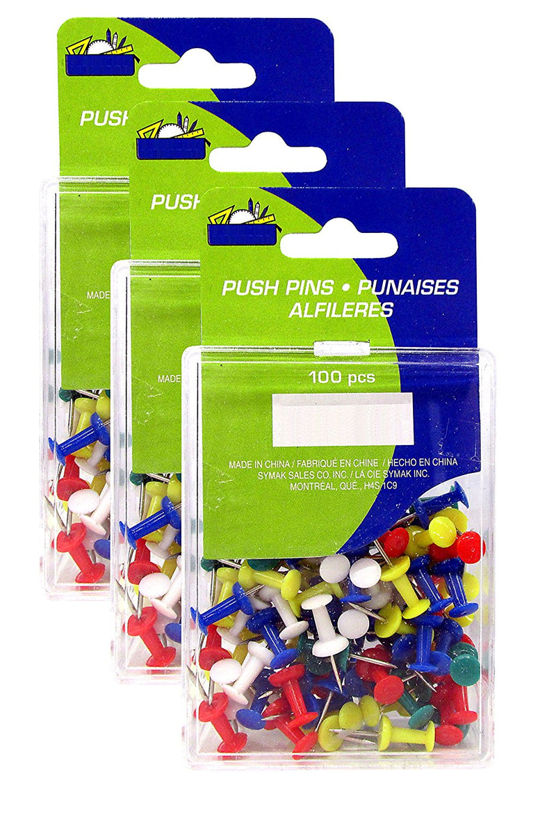 300 Pcs Kamset Push Pins Assorted Color - 3 Pack