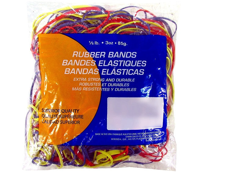 Bazic Rubber Bands Assorted Dimensions (3 oz - 85 g) Multi-Color - 1 Bag