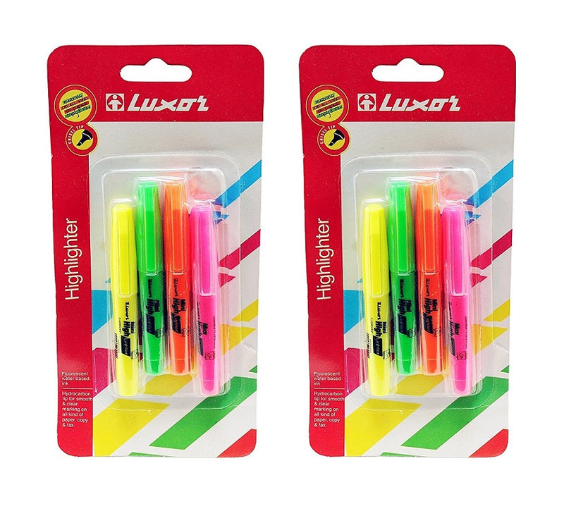 8 Pcs Luxor Mini Highlighter Chisel Tip Multicolor (green, orange, pink, yellow)  - 2 pack