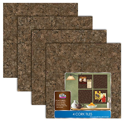 "The Board Dudes Dark Cork Tiles (12"" x 12"") - 4 Pack"