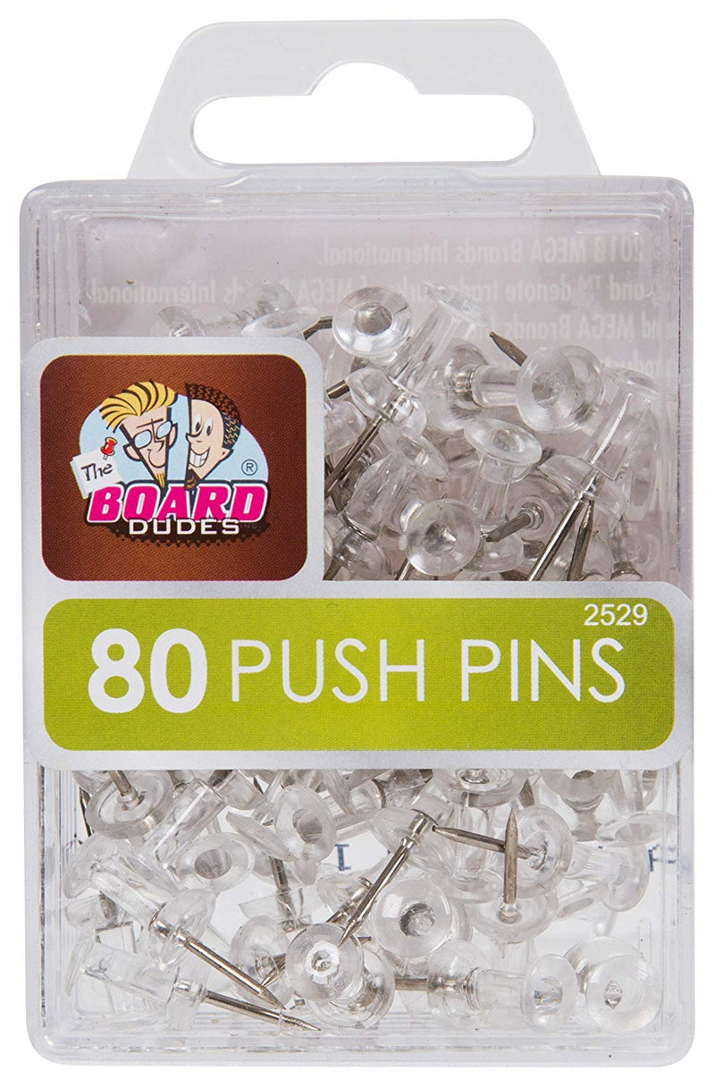 80 Pcs The Board Dudes Clear Push Pins - 1 Pack